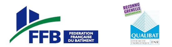 Nos certifications Fédération française du batiment et reconnu grenelle et Qualibat